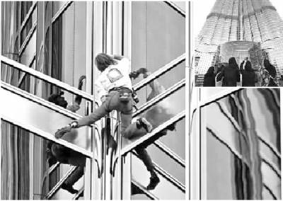 特正在徒手攀爬哈利法塔