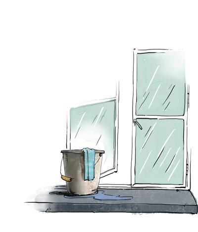 窗台漫画场景图片素材