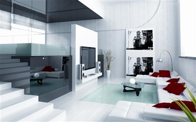 白色客厅配电视墙图片